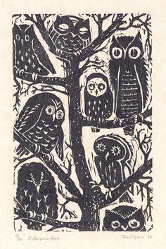 Subcommittee. Joan Drew. Woodcut, 1968 Pinned by www.myowlbarn.com