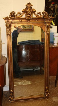 Great Golid Gilded Carved Figural Italian Tall Mantel Mantle Mirror C1920 Measures 60 inches tall x 24 inches wide This is a beautiful figural carved 1920s mirror. The mirror is in good original condition with its original patina. ***PLEASE NOTE SHIPPING IS NOT INCLUDED IN THE