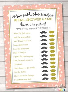 a3385c08810 Peach Crosses Guess Who Bridal Shower Game