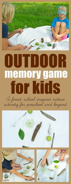 Outdoor Memory Game: A Fun, Forest-School Inspired Nature Activity for Preschool and Beyond - Nature Learning - Outdoor Memory Game for Kids. This forest-school inspired nature activity gives your brain a great - Forest School Activities, Nature Activities, Kids Learning Activities, Educational Activities, Educational Software, Summer Activities, Outdoor Activities For Kids, Outdoor Learning, Outdoor Play