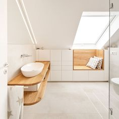 KoelnMoebel > Möbel > Bad > Badezimmermöbel in der Dachschräge House Bathroom, Bathroom Interior, Bathroom Furniture, Bathroom, Bathrooms Remodel, Interior, Bathroom Renovation, Bathroom Design, Tiny House Bathroom