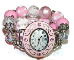 Party in Pink Chunky Beaded Watch  Interchangeable by BeadsnTime