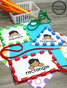 Shapes Preschool Shapes Activities – Thread Shoe Laces through Drinking Straws Preschool Shapes Activities – Thread Shoe Laces through Drinking Straws - Kindergarten Lesson Plans Motor Skills Activities, Preschool Learning Activities, Preschool Classroom, In Kindergarten, Preschool Crafts, Toddler Activities, Crafts For Kids, Preschool Shapes, Preschool Centers