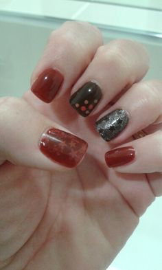 CND shellac in burnt romance and faux fur with some nail art.