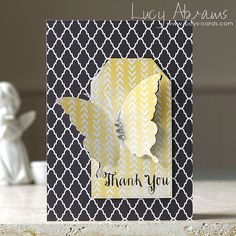 Gorgeous card by Lucy Abrams using A Simon Says Stamp Butterfly and Sentiment a long with a Hero Arts Tag Die,