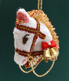 Gold Bells Red Ribbon Horse