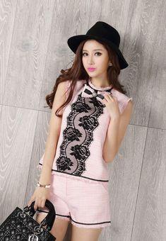 Morpheus Boutique  - Pink Lace Sleeveless Knit 2 Pieces Top Short, CA$92.29 (http://www.morpheusboutique.com/new-arrivals/pink-lace-sleeveless-knit-2-pieces-top-short/)
