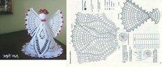 Achei estes anjinhos no facebook Goretti Tabuada Corpo do anjo Asa do anjo Crochet Angel Pattern, Crochet Angels, Crochet Art, Thread Crochet, Vintage Crochet, Crochet Doilies, Crochet Toys, Crochet Christmas Ornaments, Christmas Crochet Patterns