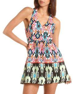 Crisscross Back Aztec A-Line Dress: Charlotte Russe