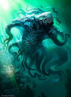 As incríveis ilustrações de fantasia para o game Magic: the Gathering de Svetlin Velinov Magical Creatures, Fantasy Creatures, Sea Creatures, Cthulhu, O Kraken, Dark Fantasy, Fantasy Art, Magic The Gathering Sets, Cyberpunk