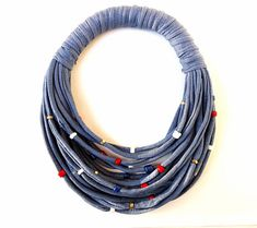 Denim T-shirt yarn necklace, spring trends, patriotic necklace, navy blue… Yarn Necklace, Fabric Necklace, Blue Necklace, Beaded Necklace, Necklaces, Recycled T Shirts, Recycled Denim, Textile Jewelry, Fabric Jewelry