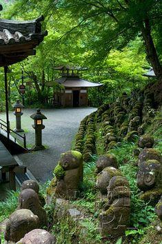Japan - Stone jizo statues at Otagi Nembutsuji Temple, Toriimoto, Kyoto
