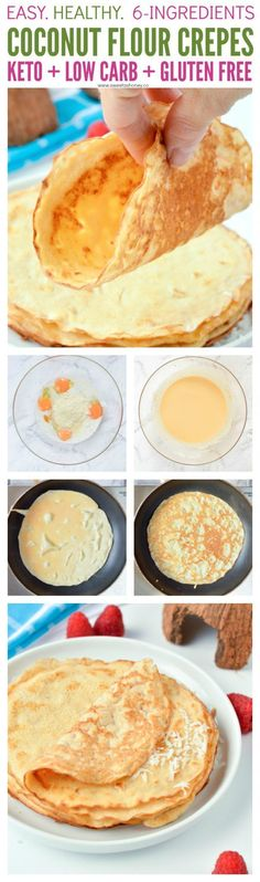 Coconut flour crepes are easy low carb breakfast or desserts crepes perfect for sweet or savory filling. Gluten free + keto + paleo. #keto #lowcarb #crepes #sugarfreedesserts
