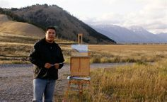 Mike Keepness painting in Grand Teton National Park. Read Mike's story at http://www.outdoorpainter.com/news/the-tale-of-the-palette.html