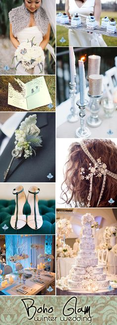 Boho glam winter wedding ideas and decorations. Featuring a subtle blue-grey palette with touches of silver and sparkle.  #winterweddings #bohoglamweddings #bohoweddings