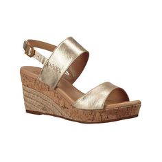 Women's UGG Elena Metallic Wedge Sandal ($130) ❤ liked on Polyvore featuring shoes, sandals, casual, casual footwear, gold, slingback wedge sandals, metallic platform sandals, high heel wedge sandals, slingback sandals and wedges shoes