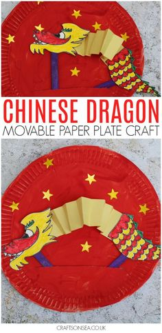 Celebrating Chinese New Year with the kids? This Chinese dragon paper plate craft is movable so they can play with it too! Find out more ideas for Chinese New Year crafts for kids too as well as how to make this cool dragon puppet. #chinesenewyear #kidsactivities #kidscrafts