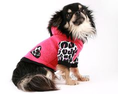Dog Clothes Mohawk Hot Pink and Black Leopard dog hoodie sweater Valentines Day yorkie pug westie on Etsy, $29.68