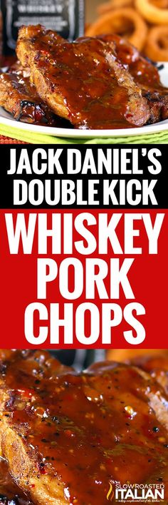 Jack Daniels Double Kick Pork Chops are marinated in a fabulous mixture of Jack and spices. The spices give these pork chops a little heat, but the Jack Daniels adds such an amazing flavor that you really have to try this recipe! Rib Recipes, Pork Chop Recipes, Grilling Recipes, Cooking Recipes, Recipies, Grilling Ideas, Quiche Recipes, Yummy Recipes, Dinner Recipes