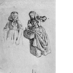 """""""Två bondkvinnor"""" av Kilian Zoll, ca 1840-60. Nationalmuseum, nr. NMH 687/1940"""
