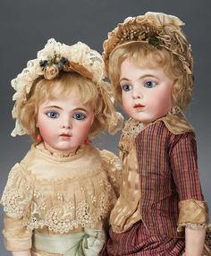 "Both dolls: French Bisque Bebes by Leon Casimir Bru with Early Body and Signed Bru Shoes 17"" (43 cm.)"
