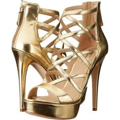 GUESS Kadani (Gold) High Heels (€43) ❤ liked on Polyvore featuring shoes, sandals, heels, gold, stiletto heel sandals, heeled sandals, gold platform sandals, high heel platform sandals and high heel stilettos