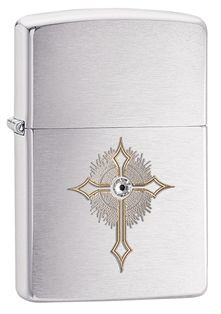 This simply engraved cross design is highlighted by the Swarovski crystal at its center. (