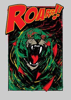 Displate Poster Battle cat Roar roar #wildcats #animals #tvshow #cartoon #battlecat #cringar