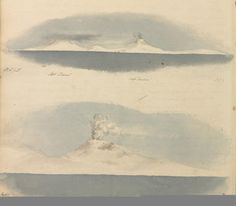 Hooker's Paintings of  Mount Erebus & Mount Terror after which the Antractic Expedition ships were named. Paintings from Hooker's Antarctic Journal.