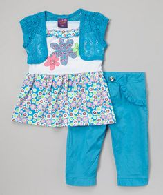 Look at this #zulilyfind! Blue Floral Tunic  Pants - Infant, Toddler  Girls by Coney Island Kids #zulilyfinds
