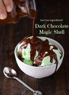 DIY Dark Chocolate Magic Shell    Recipe Note: If you notice, the method I use is 1 oz of chocolate to 1 tablespoon coconut oil. This makes it really easy to make a large batch!  Ingredients:    3 oz dark chocolate  3 tablespoons coconut oil (measured when hard)