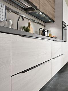 Model Tokyo - Two-colour minimal modern kitchen Kitchen Room Design, Kitchen Redo, Modern Kitchen Design, Kitchen Living, Kitchen Styling, Interior Design Kitchen, Kitchen Remodel, Kitchen Cabinet Door Styles, Kitchen Cabinet Design