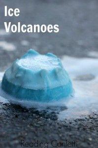 des volcans de glace en bicarbonate de soude et vinaigre!