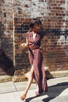 Polkadot button up maxi dress with camel leather belt and shoes