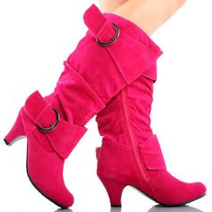 Pink Suede Slouchy Ruched Buckle Straps Mid Calf Womens High Heel Boots 9