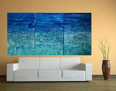 36x72 MTO Large Multi Panel Abstract Beach Sea by MyImaginationIsYours, $549.00