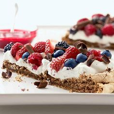 Chocolate-Berry Meringue Choose your favorite berries for this chocolate and cream dessert. Maybe no purée