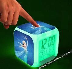 Disney Princess Flashing Frozen Elsa LED Clock Watch Doll Anna Alarm Date Great! #Unbranded
