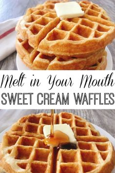 Sweet Cream Waffles - The Mommy Mouse Clubhouse Amazing Sweet Cream Waffles will literally melt in your mouth! They are soft, delicate, and will definitely be the best tasting waffle you'll ever make! Sweet Cream Waffle Recipe, Best Waffle Recipe, Waffle Maker Recipes, Best Belgian Waffle Recipe, Overnight Waffle Recipe, Waffle Batter Recipe, Waffle Toppings, Clotted Cream, Breakfast