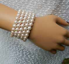 Vintage Richelieu Ivory Fashion Faux Pearl Wrap Cuff 5-Coil Bracelet - Visit my Etsy shop: www.etsy.com/shop/AyQueBella