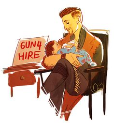 tfw ur short on caps but u still gotta be a parent polypathos:  so I saw this headcanon in the maccready tag about mac toting duncan around in an improvised baby sling..  now I cant get off the dad-maccready train and I feel completely fine  Daddy MacCready