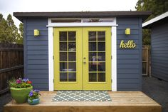 replace portable shed doors with French doors for she shed - Modern Backyard Cottage, Backyard Sheds, Outdoor Sheds, Backyard Office, Backyard Studio, Converted Shed, Portable Sheds, Guest House Shed, Painted Shed