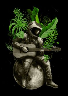 """Beautiful """"Astropical Strum"""" metal poster created by Nicebleed Art. Our Displate metal prints will make your walls awesome. Wallpaper Earth, Wallpaper Space, Galaxy Wallpaper, Space Artwork, Space Space, Astronaut Wallpaper, Science Fiction, Fantasy Art, Cool Art"""