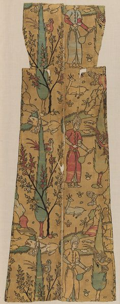 Textile depicting a courtier in a landscape, 16th century; Safavid Iran Silk; lampas; H. 40 in. (101.6 cm), W. 14 1/2 in. (36.8 cm) Rogers Fund, 1908 (08.109.3)