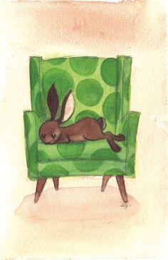 Sleepy Bunny Art Print