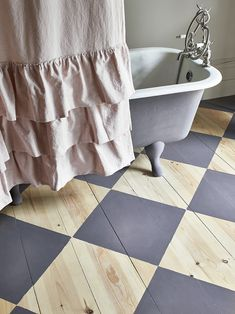 "Boring wooden floors got you feeling down? Why not breathe fresh life into forgotten floorboards with Chalk Paint™ by Annie Sloan. It's as easy as 1,2,3.With no sanding or prepping required, updating your flooring is simple - ""geometric shapes look fabulous and modern and are easy-peasy... Painted Floorboards, Painted Stairs, Painted Floors, French Home Decor, Retro Home Decor, Cheap Home Decor, Tire Furniture, Painted Furniture, Furniture Design"