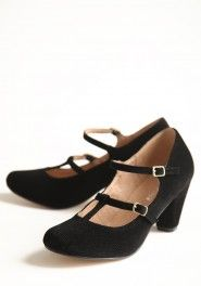 t-strap and mary jane... in love! maddy corduroy black pumps by Chelsea Crew