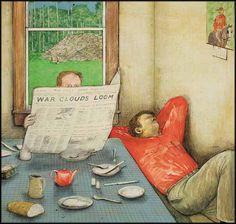 The Last Days, Series by William Kurelek, ARCA OC OSA 1927 - 1977 Canadian, mixed media on board 19 x 20 in x cm William Kurelek, Mixed Media, Series 4, Oc, Brunch, Painting, Places, Board, Fotografia