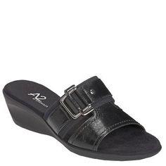 Women's A2 by Aerosoles Bad to the Bone Wedge Sandal Black Combo Shoes.com