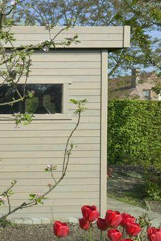 #tuinhuis #schilderen Garden Sheds, Garage Doors, Outdoor Decor, Home Decor, Decoration Home, Room Decor, Garden Cottage, Home Interior Design, Carriage Doors